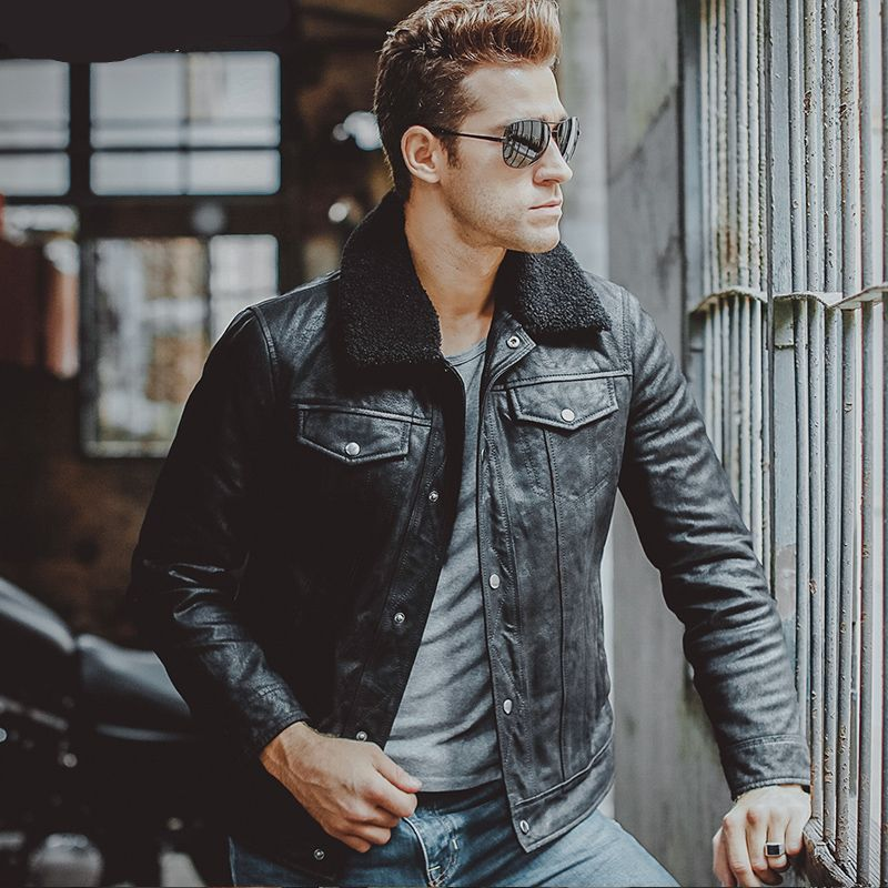Fur Collar Motorcycle Genuine Leather Men Jacket Leather