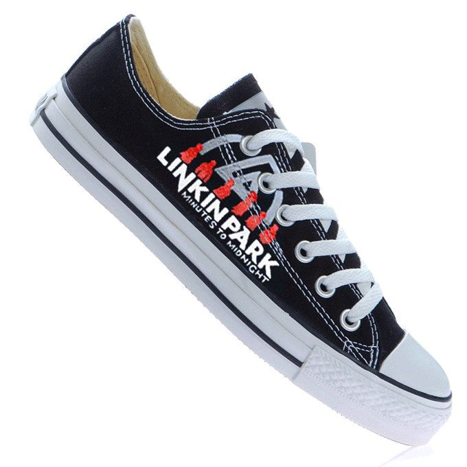 a232f128500d58 Hand Painted Linkin Park Converse All Star Low Top Sneakers.  70.00 ...