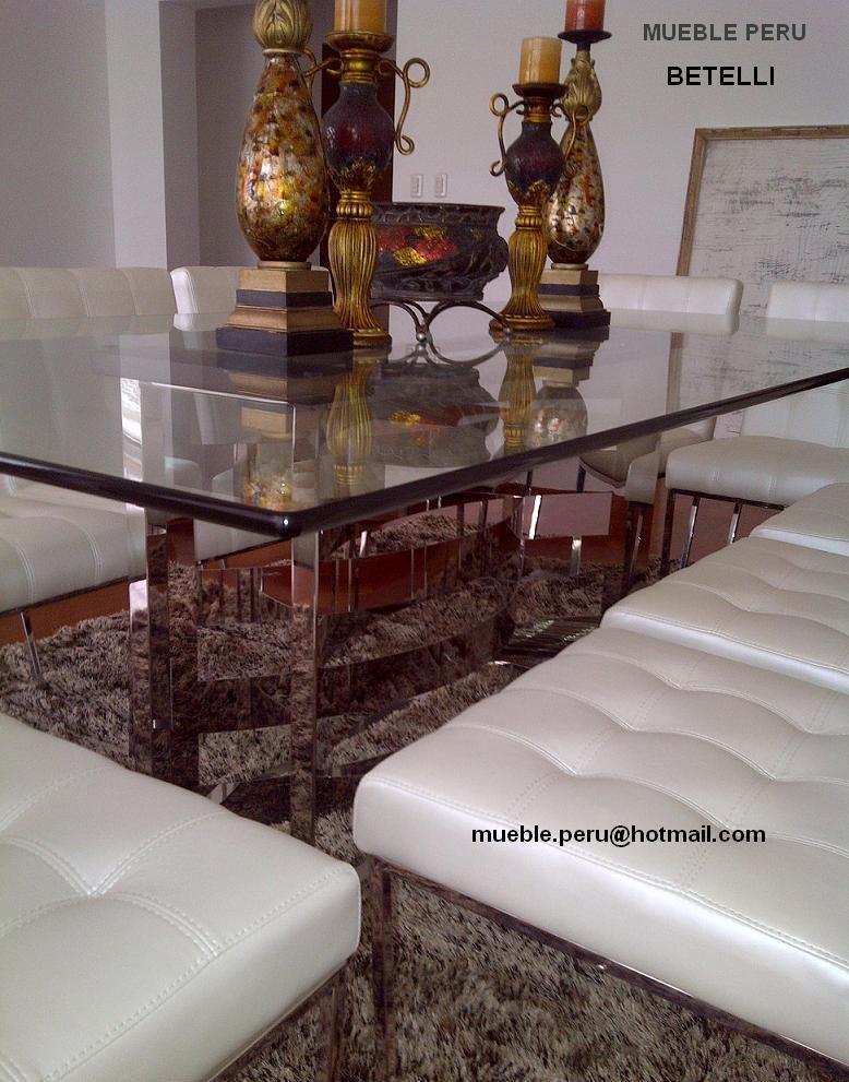 Hermoso comedor betelli con moderna mesa de acero y for Sillas comedor elegantes