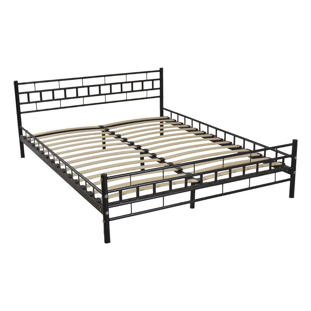 Durable Queen Size Wood Slats Bed Frame Platform Headboard Cadre