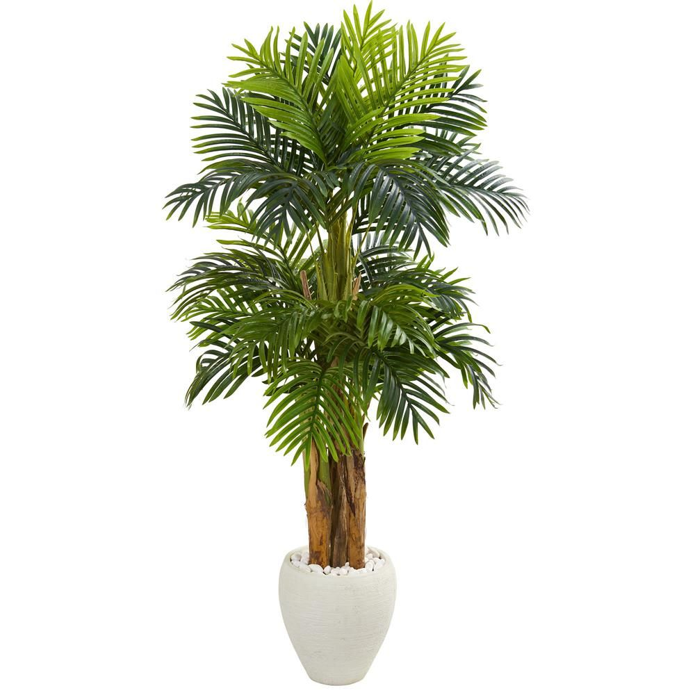 Nearly natural indoor ft triple areca palm artificial tree in