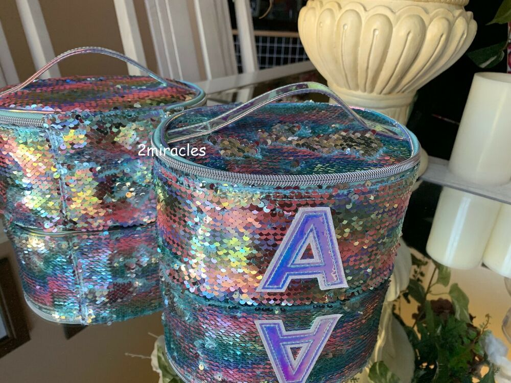 NWT Justice Girls INITIAL A Flip Sequin Sparkle Cosmetic