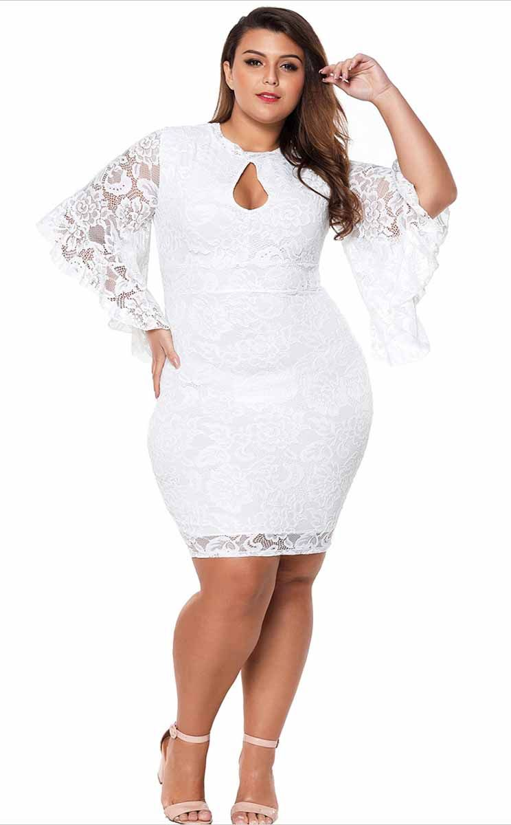 47f96683beb4 Women's #white three quarter bell sleeve #PlusSize mini #dress floral lace,  Bodycon design, Body-flattering lace overlays with soft lining, night out,  ...