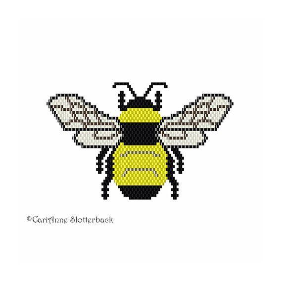 Bumble Bee Beading Pattern - brick/peyote stitch pattern, unique nature inspired jewelry pattern, beaded bee pattern, beaded insect pattern #tropicalpattern