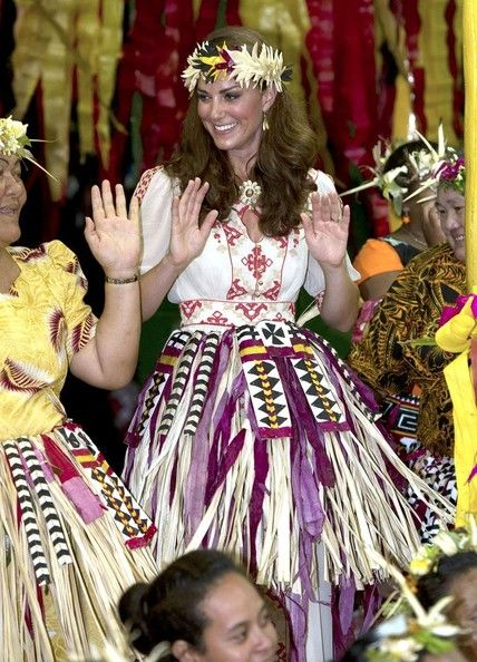 Kate dances with the ladies at the Vaiku Falekaupule for an entertainment programme on September 18, 2012 in Tuvalu.