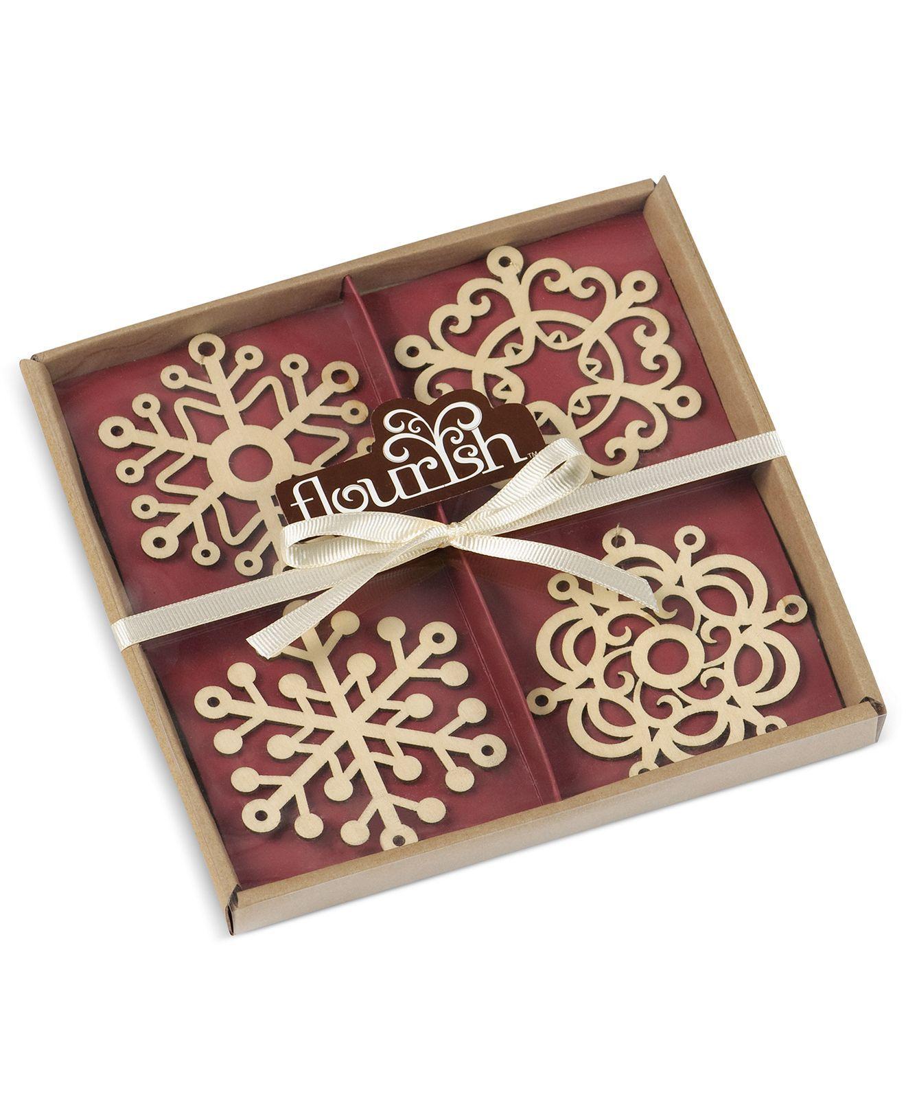 Flourish Christmas Ornament, Set of 4 Snowflakes - Holiday Lane - Macy's