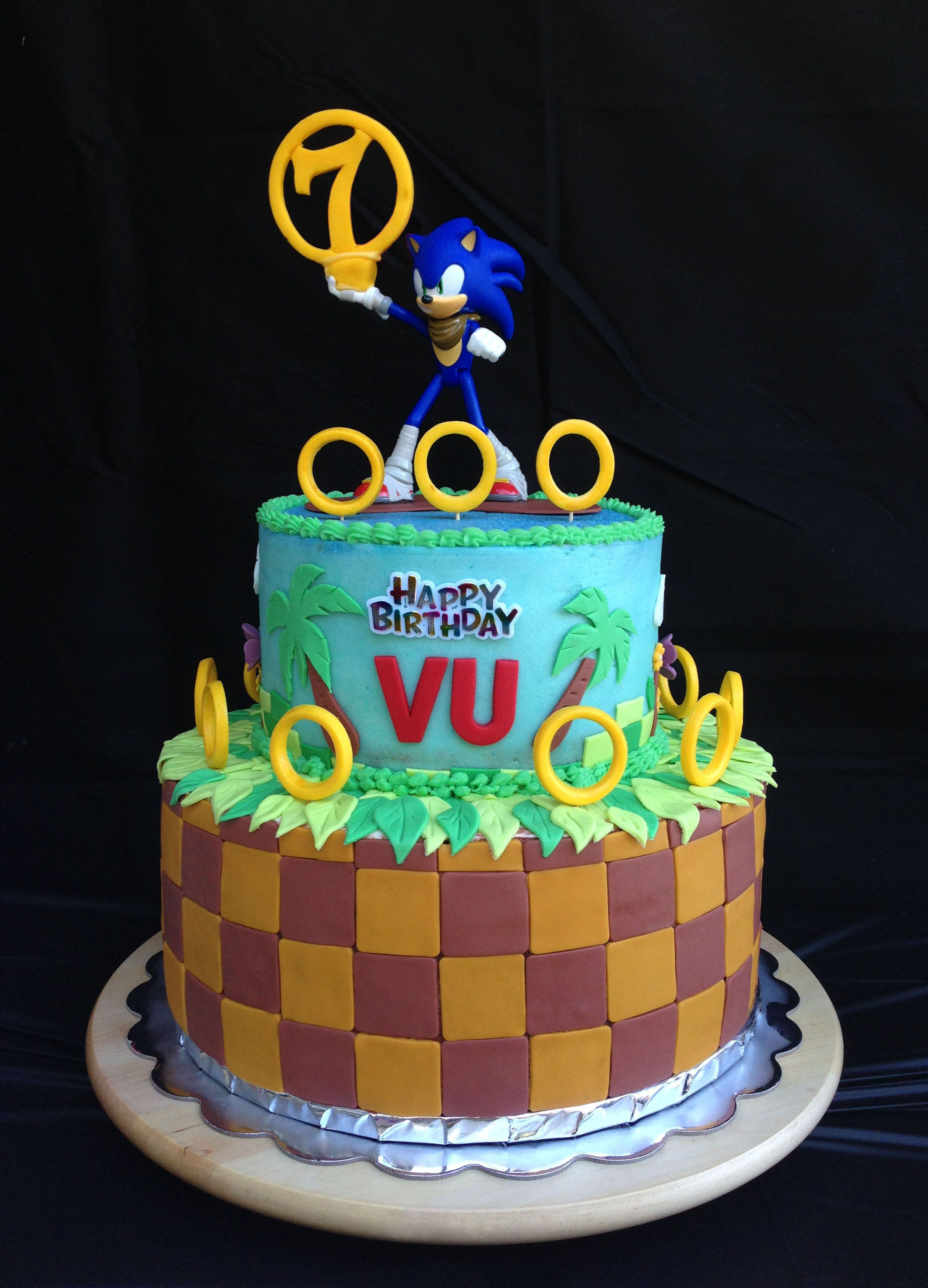 7th Birthday Cake Sonic The Hedgehog Bday Cake For Vu Cakes