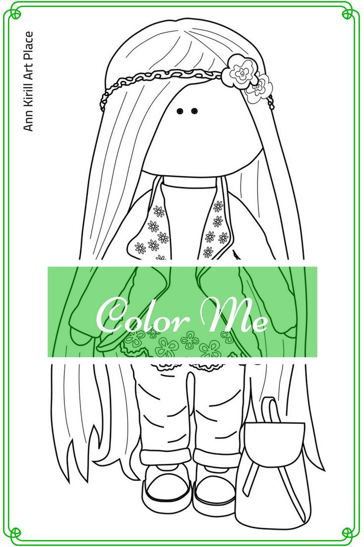 Color Me, Girl Digital Stamp, Dolls Digital Stamp, Kids Colouring ...
