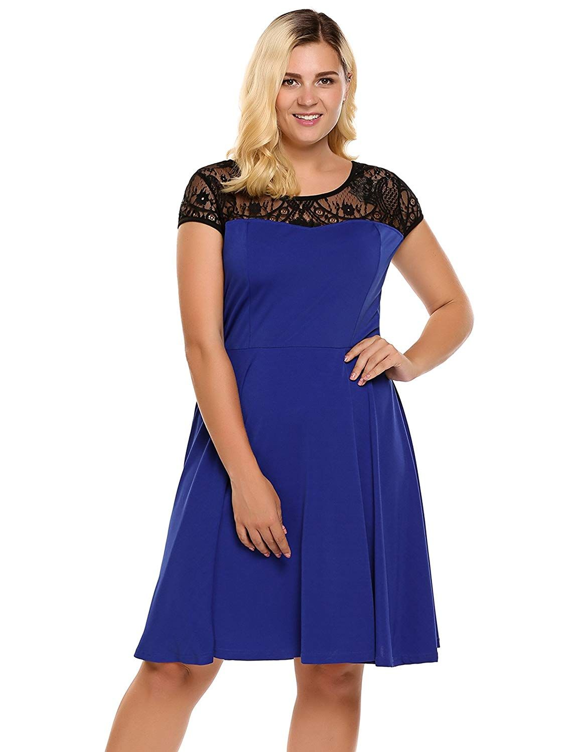 b19e8040249 IN VOLAND Womens Plus Size Lace Cap Sleeve Fit and Flare Vintage Party Dress  - Ladies High Waist Floral Lace Tea Dress   See this great product.