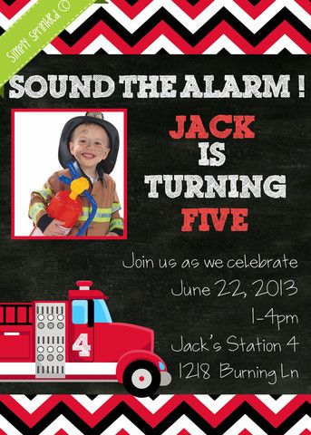 ALARMING Fire Engine Invitation - DIY Printable by Simply Sprinkled