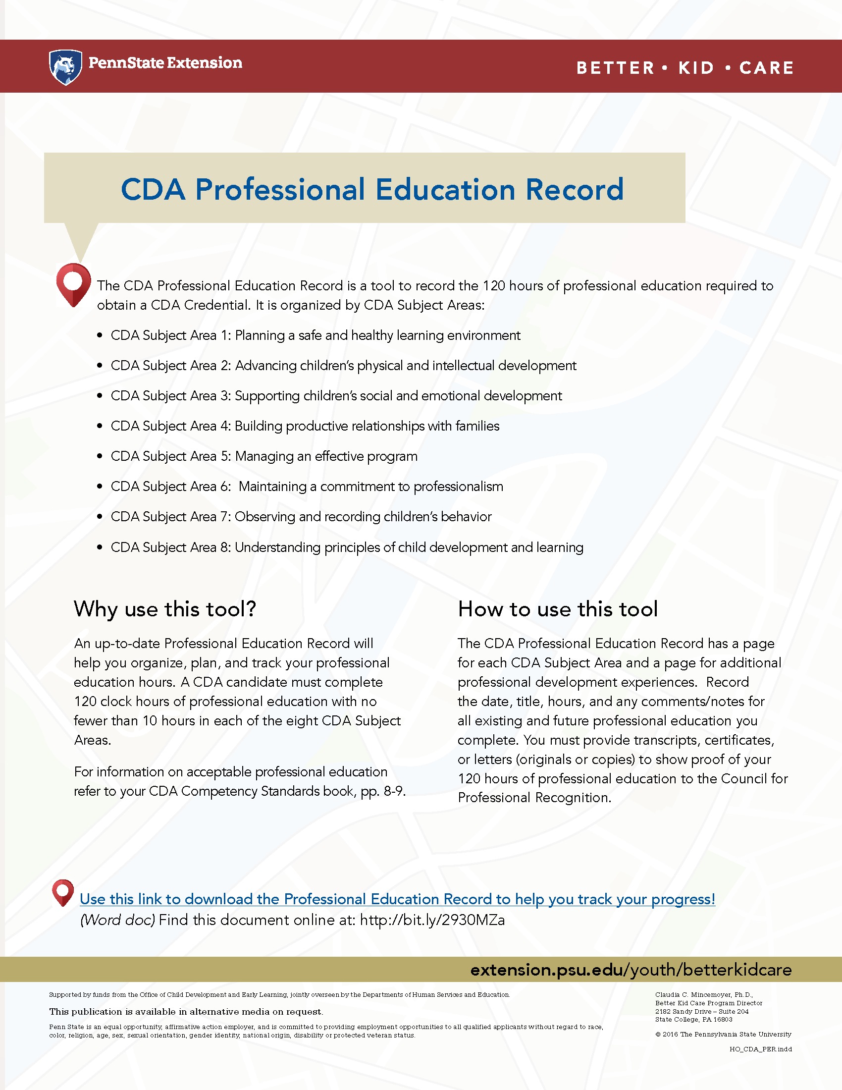 Cda Professional Education Record A Tool To Help Organize