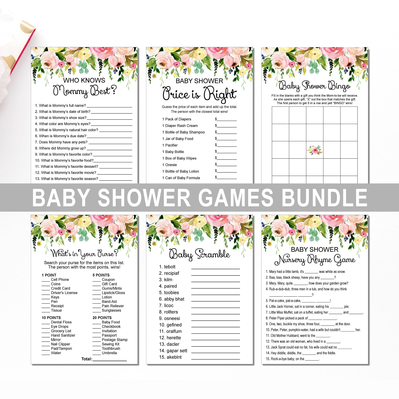 Floral Baby Shower Game Bundle Printable Gender Neutral Spring Etsy Floral Baby Shower Baby Shower Games Spring Baby Shower