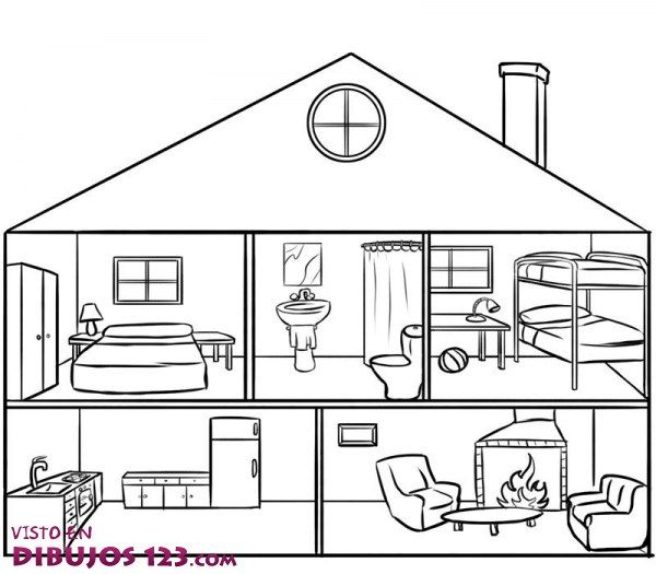 Partes de la casa en ingl s con dibujos para colorear imagui vocales house school y home - Partes de la casa en ingles para ninos ...