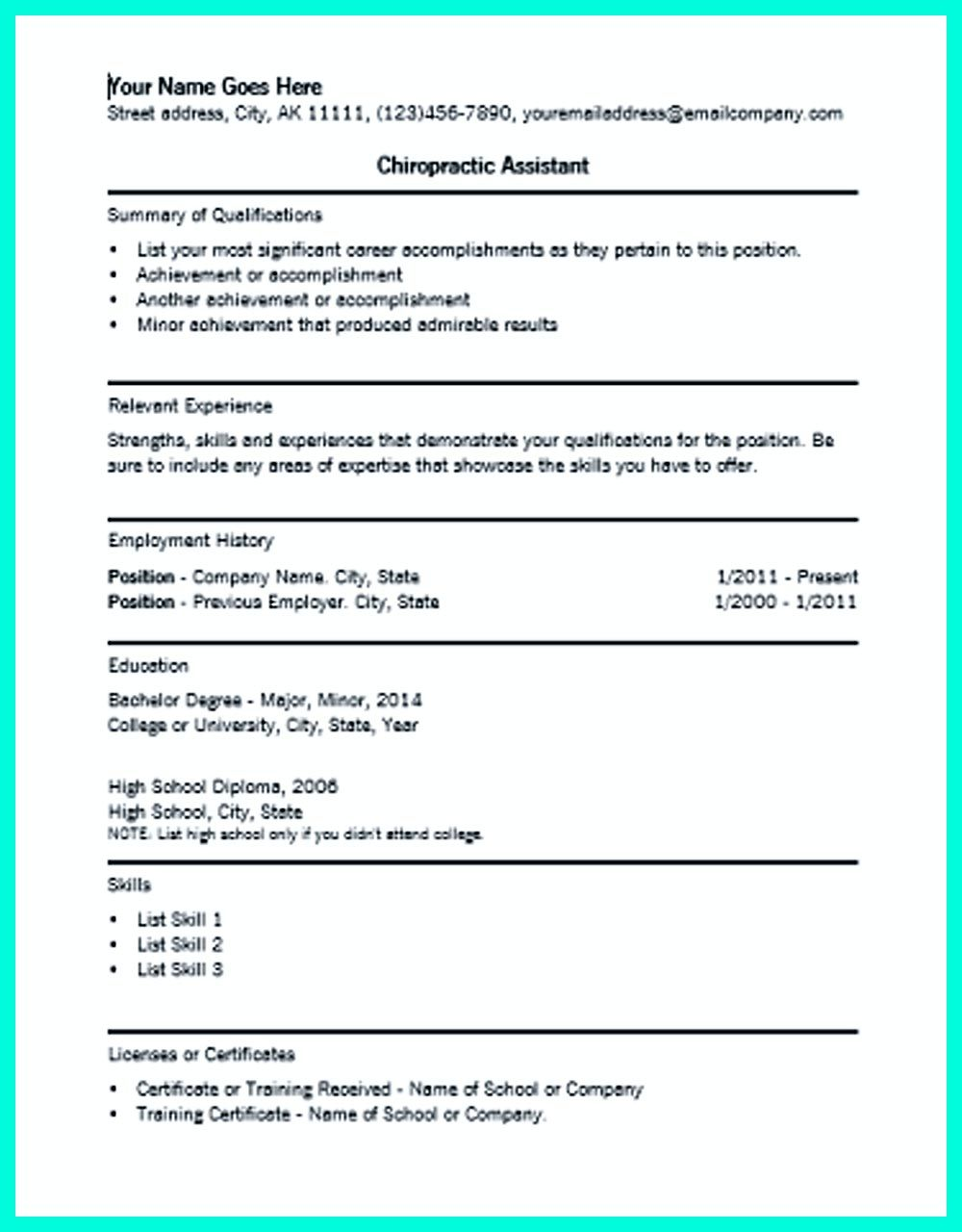 in chiropractic assistant resume chiropractic assistant objectives need to be mentioned it is for. Resume Example. Resume CV Cover Letter
