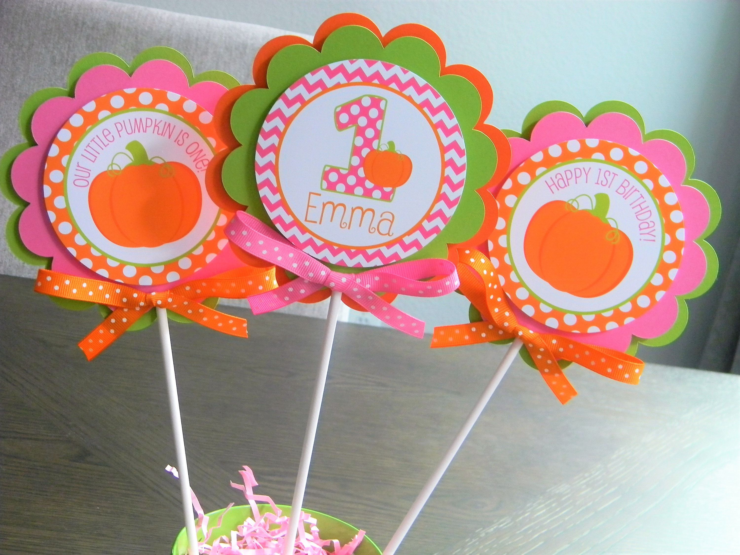 Pumpkin Centerpiece Sticks, Party Decorations, Girl Pumpkin Birthday Party,  Set of 3 by sweetheartp...