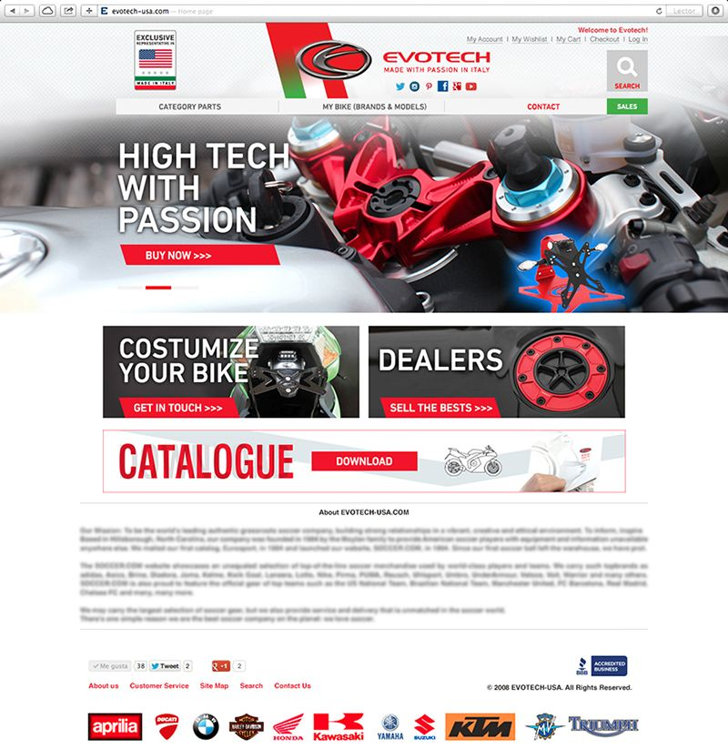 NEW WEBSITE for Evotech USA are the best accessories and spare parts for motorcycle in the world with high quality and high technology for Ducati, Honda, Yamaha, Suzuki, Kawasaki, MV Agusta, Benelli, Aprilia, BMW, KTM, Triumph, Husqvarna, Gas Gas, Harley Davidson design by Eduardoluis Manchego