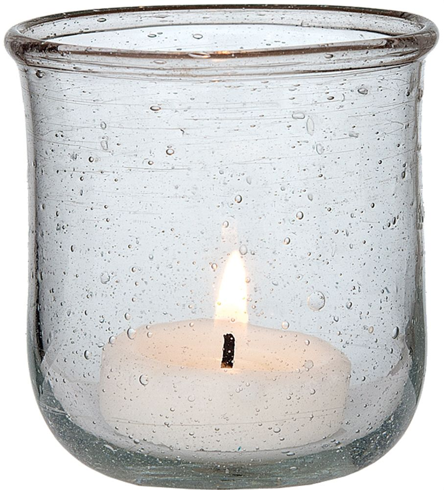 Recycled glass candle holder inch clear for use with tea