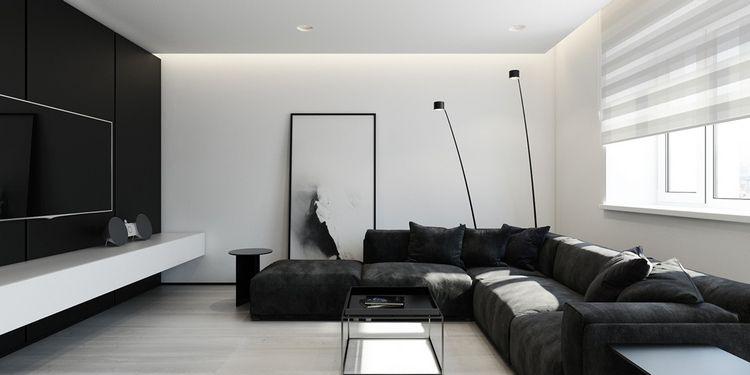 Décoration Noir Et Blanc Tableau Moderne Canapé Angle Meuble Tv