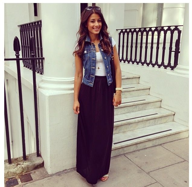 20 style tips on how to wear denim vests black maxi