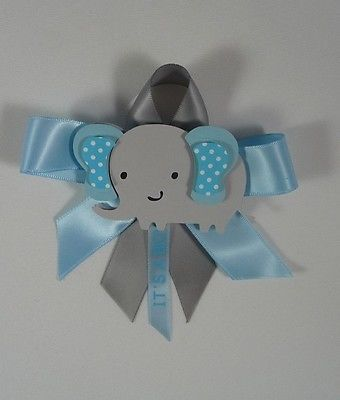 Details About Baby Shower Corsage Elephant Theme Blue And Gray