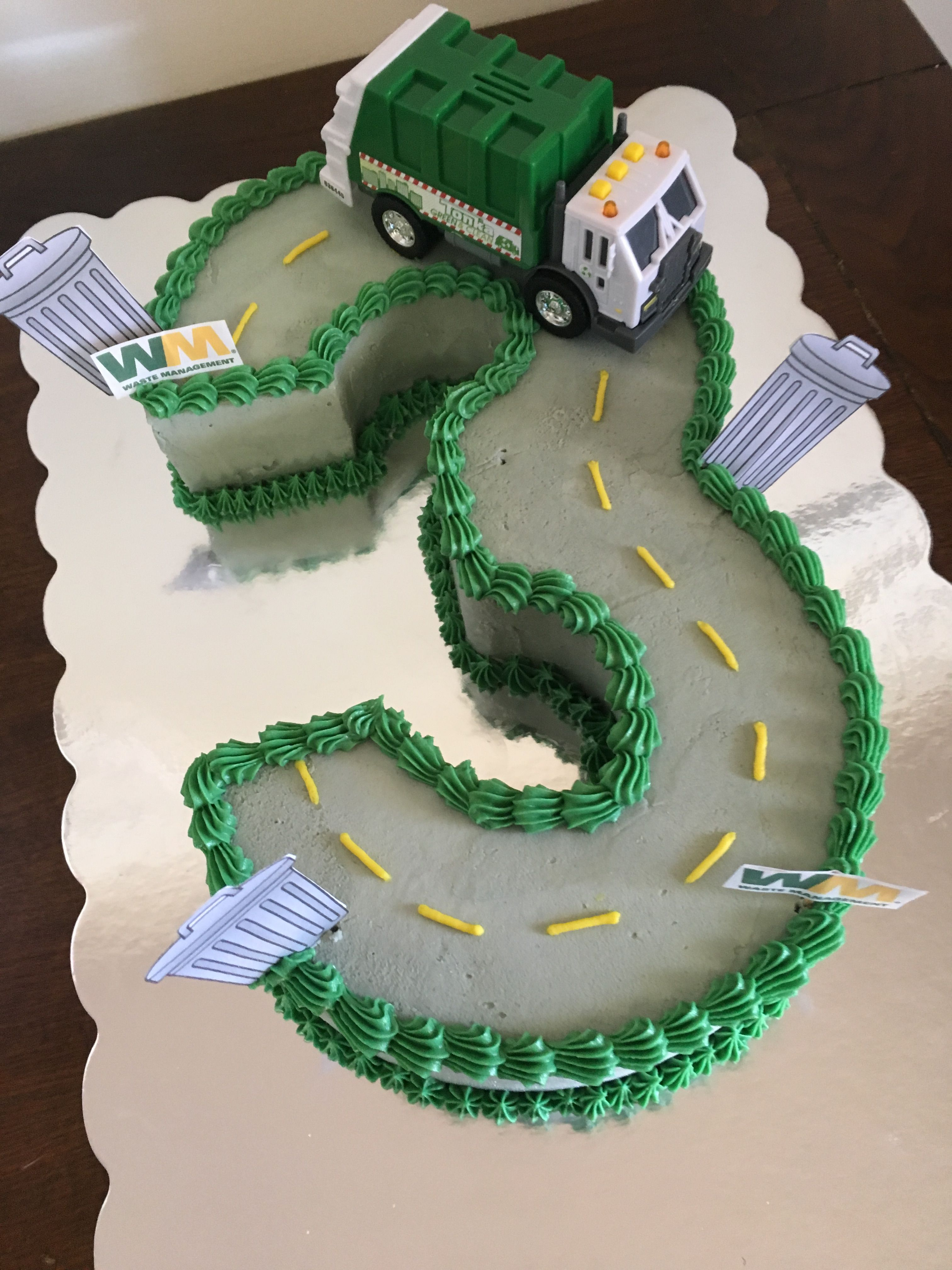 Awesome 3Rd Birthday Garbage Truck Cake Cake Creations By Leah With Personalised Birthday Cards Veneteletsinfo