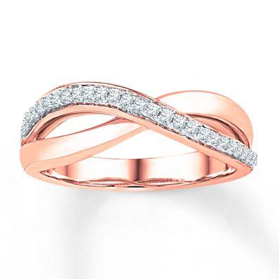 Diamond Ring 1/10 ct tw Round-cut 10K Rose Gold