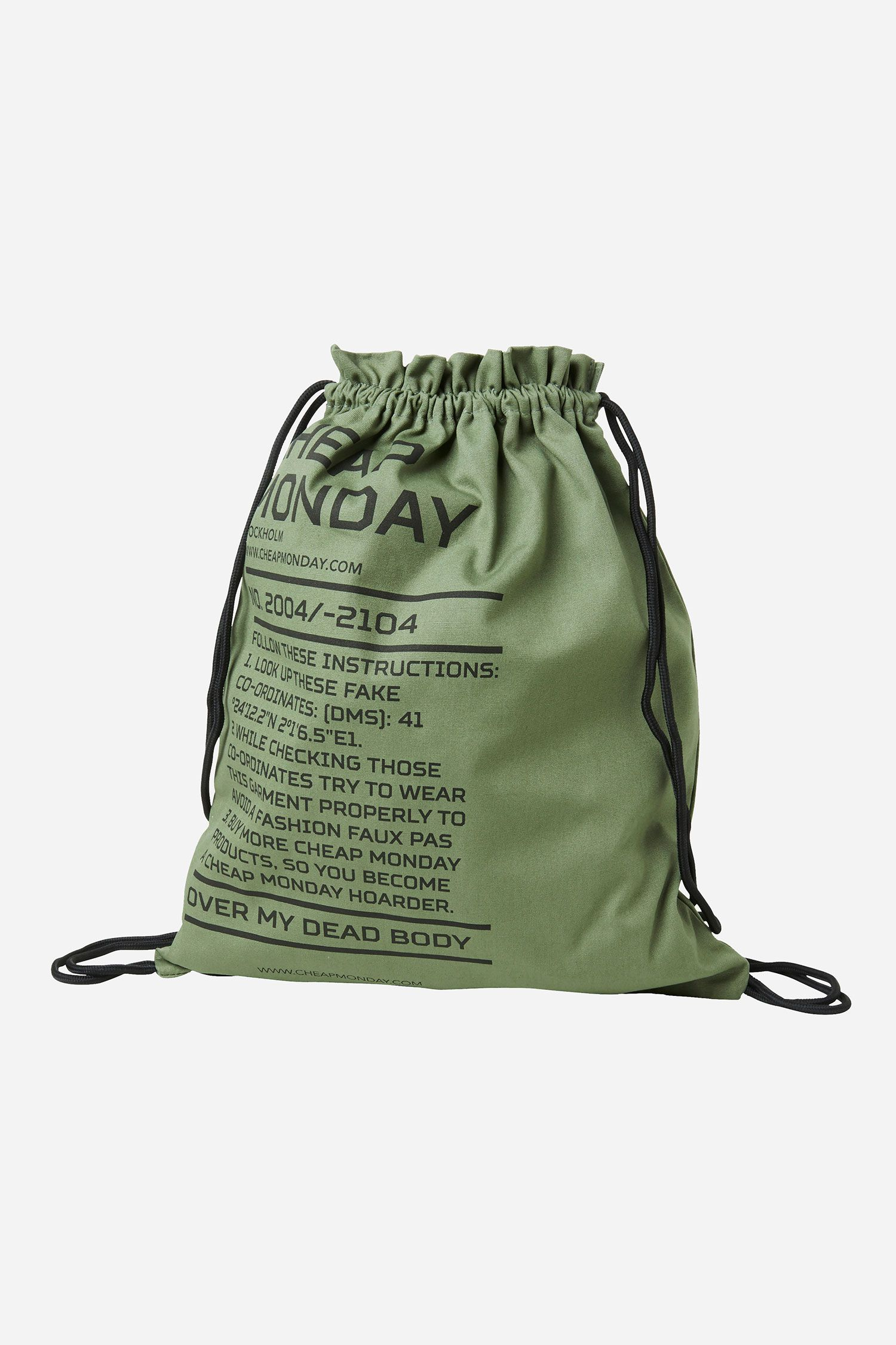 e62f2a1bdf Cheap Monday Rapid Army Logo Gym Bag in Bleached Olive