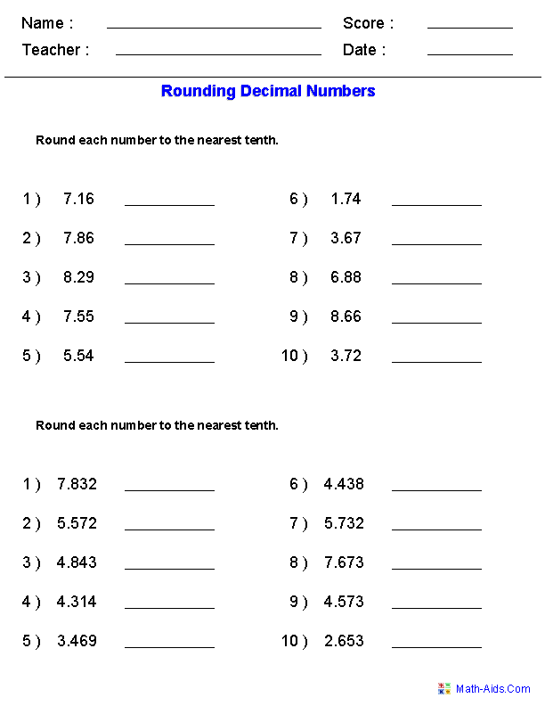 Decimals Worksheets Dynamically Created Decimal Worksheets Rounding Worksheets Rounding Decimals Decimals Worksheets