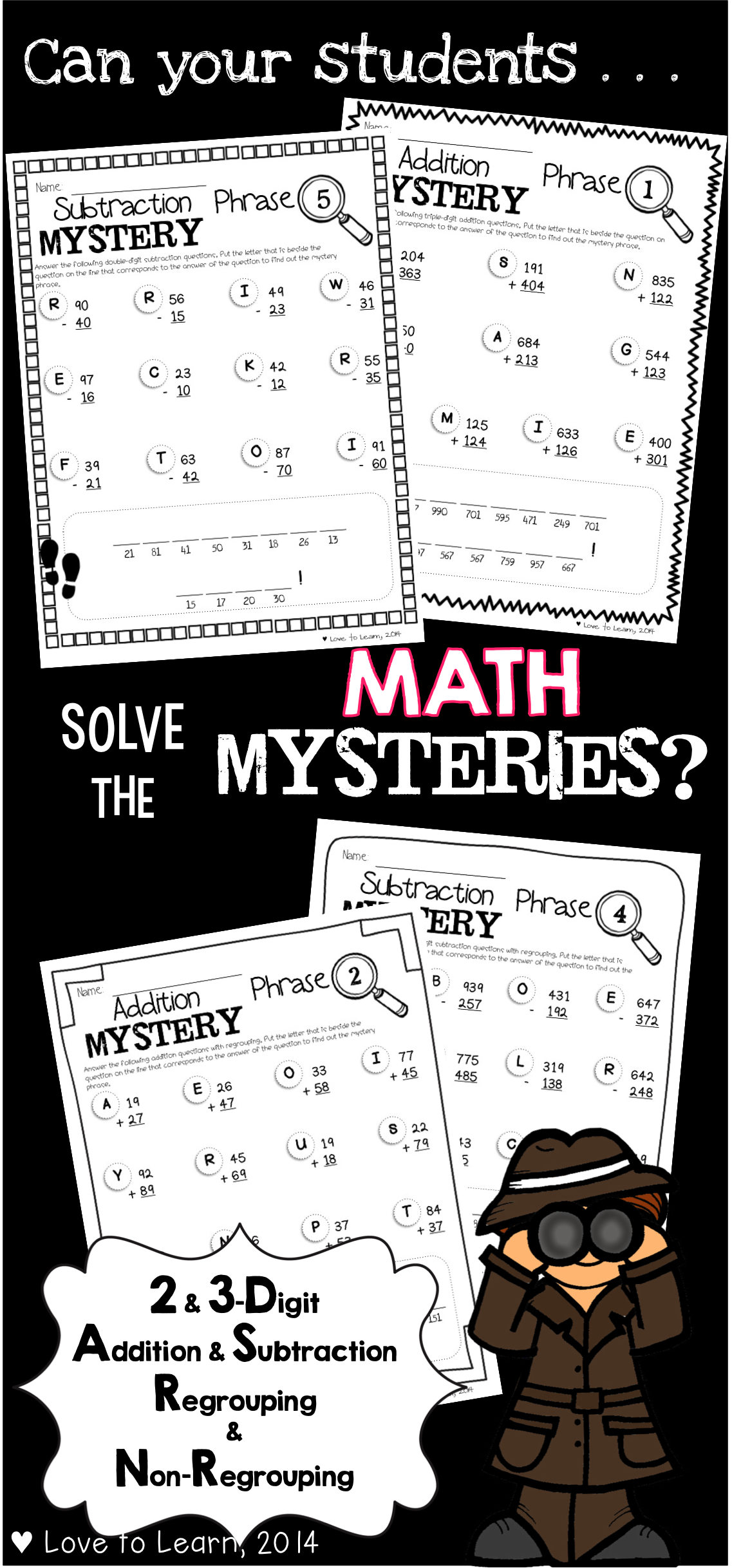 Students Will Have Fun Solving These Mystery Phrases As They Practice 2 Amp 3 Digit Addition And