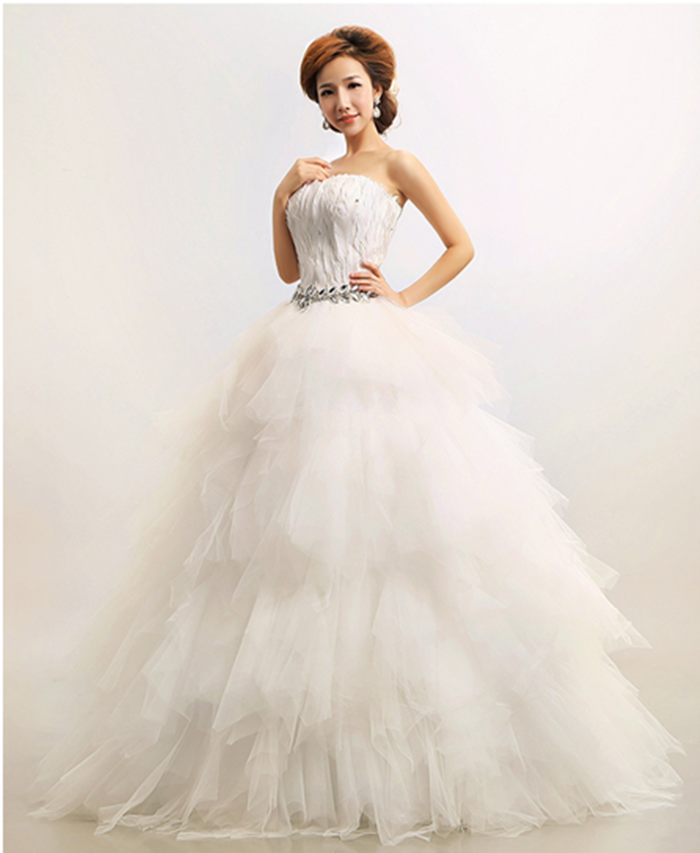 b1bc5aba65130 Korean Princess Feather Floor Length Wedding Dress Elegant Strapless Bride  Gown