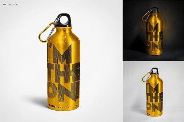 Stainless Steel Water Bottle Mockup Free