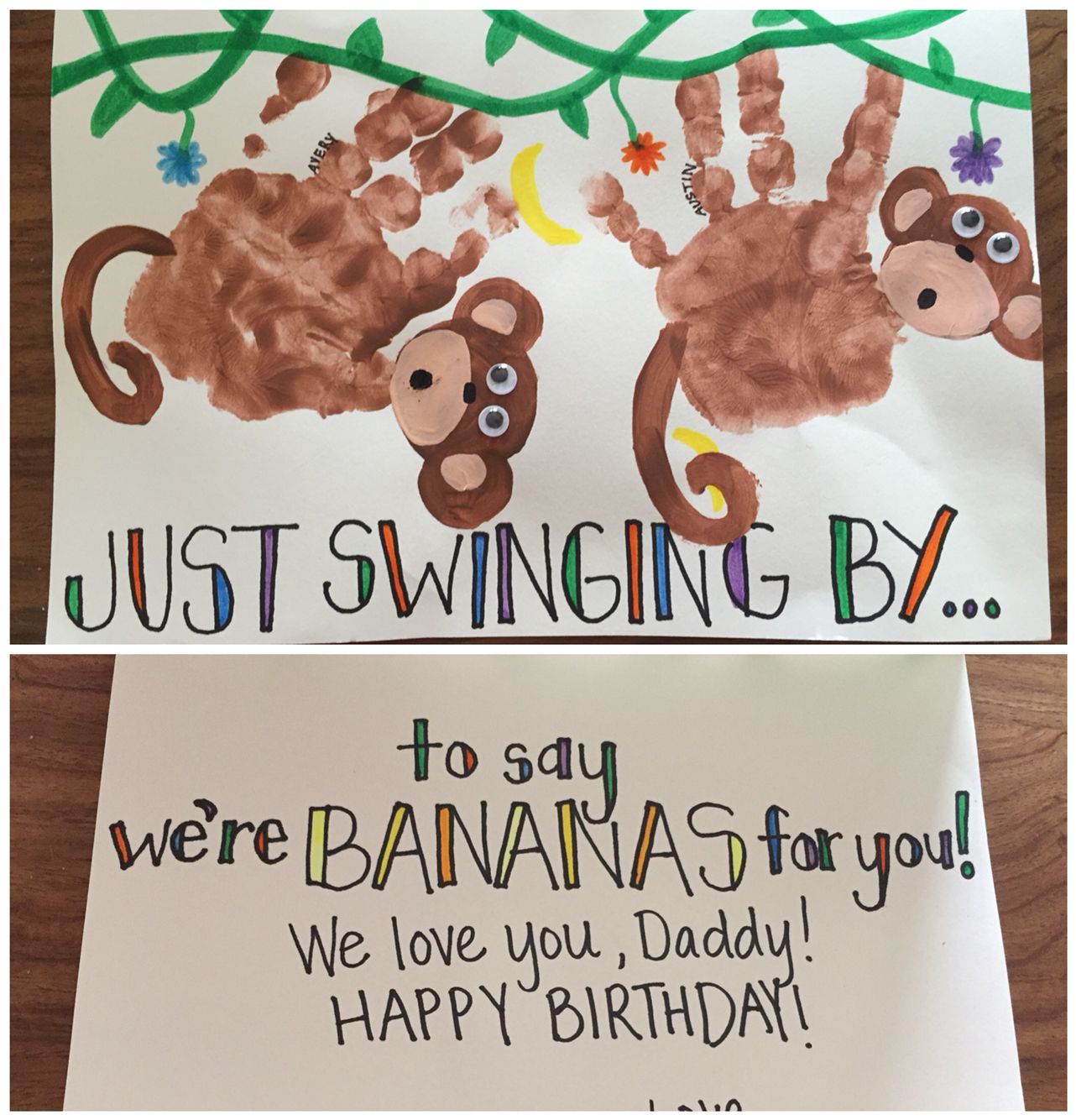 Handprint monkey birthday card Swinging in to say were bananas for