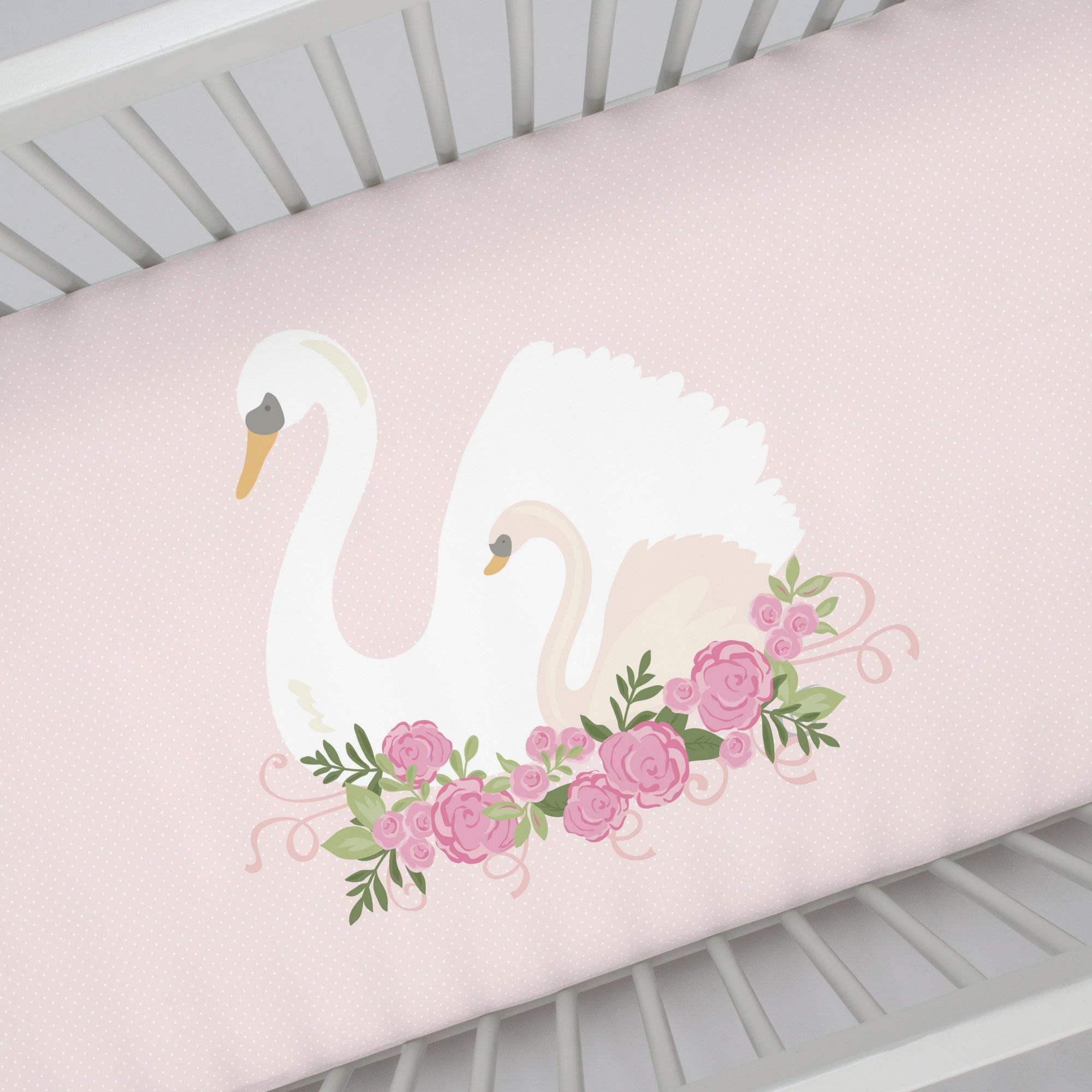 Swan Centerpiece Crib Sheet Crib Sheets Cribs Fitted Crib Sheet
