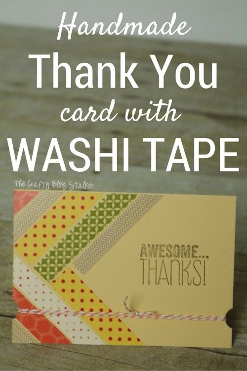 A handmade thank you card will brighten your friends day. This card is simple to make, all you need is some washi tape, baker's twine and stamped greeting.