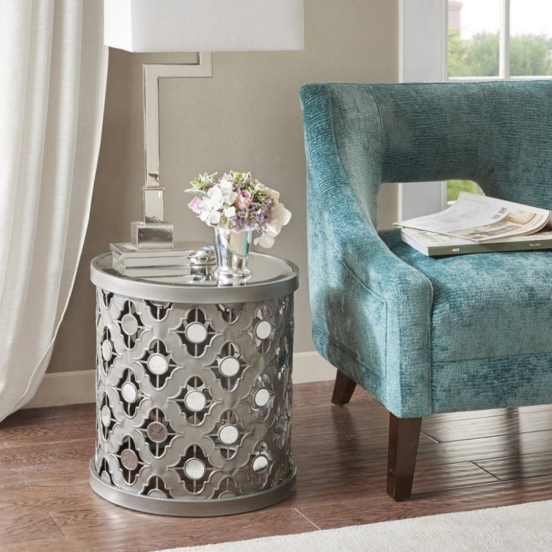 Silver Quatrefoil Mirror Accent Table, Silver Mirror End Table