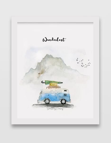 VW Bus Watercolor Art Print - #Art #Bus #dibujo #Print #VW #watercolor #watercolorart