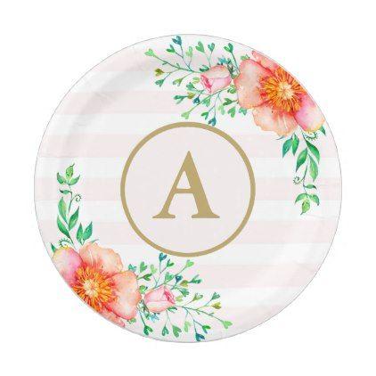 Vintage Floral Gold Monogram Pink \u0026 White Striped Paper Plate - flowers floral flower design unique  sc 1 st  Pinterest & Vintage Floral Gold Monogram Pink \u0026 White Striped Paper Plate ...