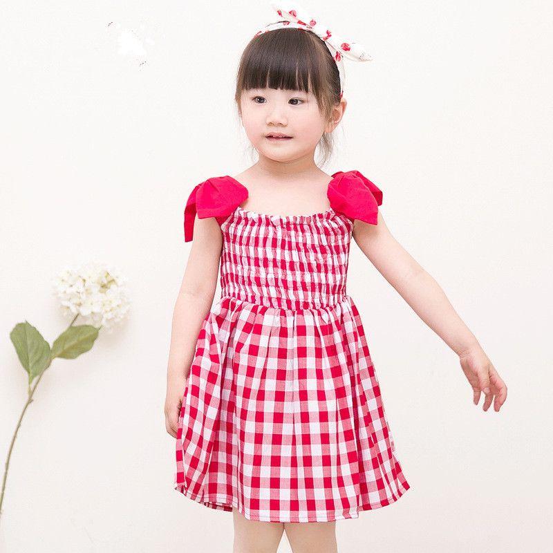 Wholesale Plaid Cotton Cinderella Dress Girl Baby Frock