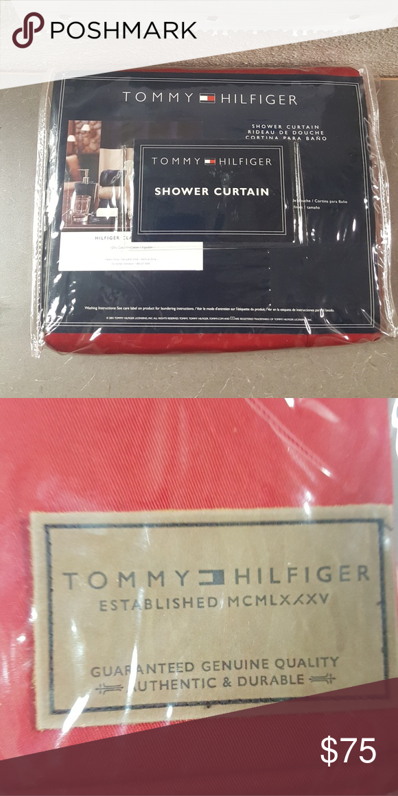 Tommy Hilfiger Shower Curtain Brand New Never Used Chino Red 72