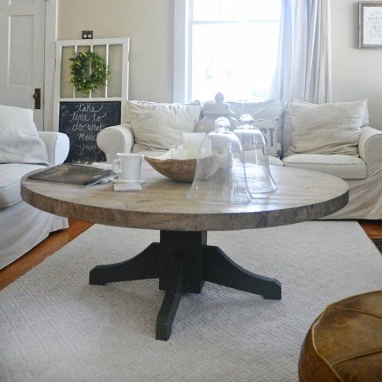 Come see how we made a rustic round coffee table what we made it