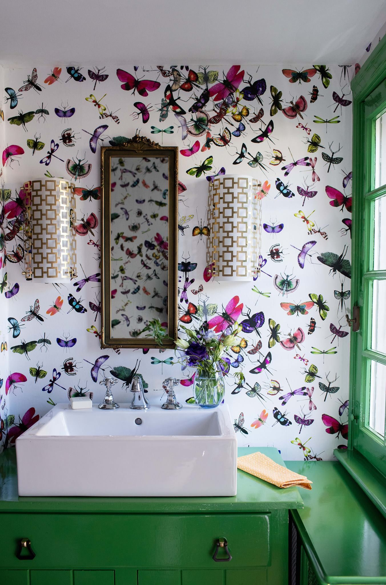 Better Homes And Gardens Bathroom Remodel. Awesome Butterfly Wallpaper For A Small Bathroom With A Bold Spring Flavor From Better Home And Gardens