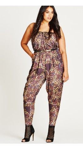 Plus SizeBlur Dream Printed Jersey Jumpsuit BLURREDDREAM | CityChicOnline.com