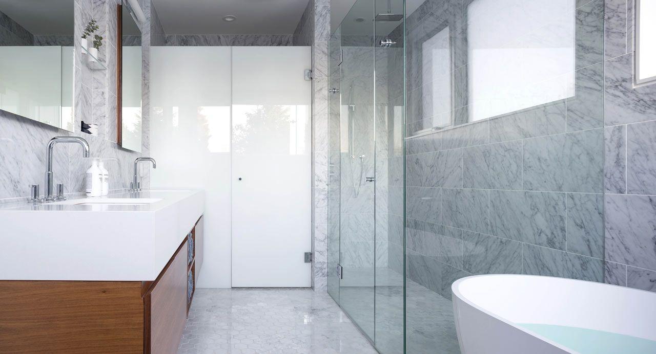 Folded House by Scott Posno Design   Minimal bathroom, Marble tiles ...