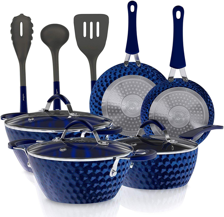 11 Piece Nonstick Kitchen Cookware Set Excilon Blue Diamond
