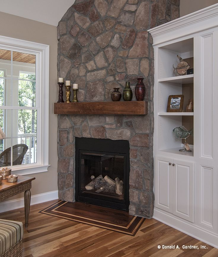 corner fireplace vaulted ceiling - Google Search | Mom and Dad ...