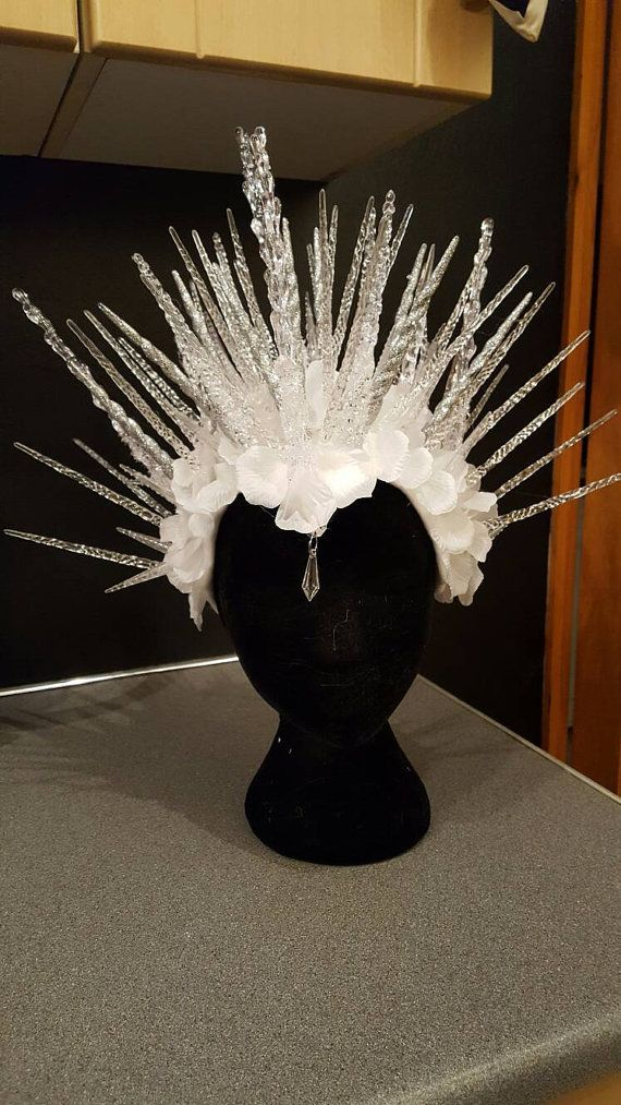 Ice Queen Light up Ice crown Snow Queen icicle Headpiece. Riene De Glacè ice frozen Narnia headdress
