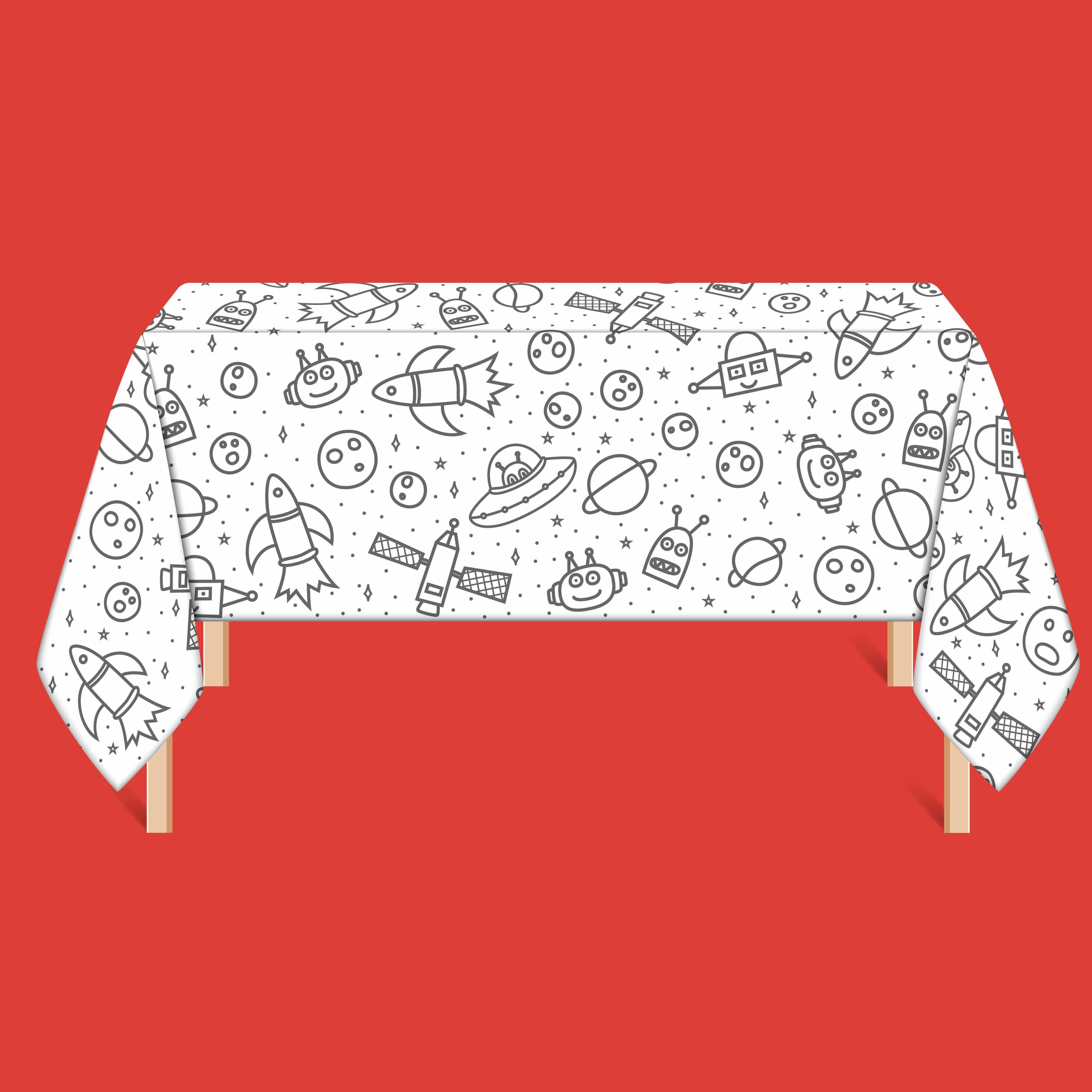 Coloring Of Space Lovely Coloring Tablecloth Space Explorer This Is Stoweyjoey Party Table Cloth Kids Birthday Party Decoration Kids Party Themes