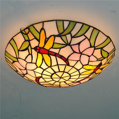 Tiffany Style Stained Glass Dragonfly Ceiling Lamp Dining Room Flush Mount Light