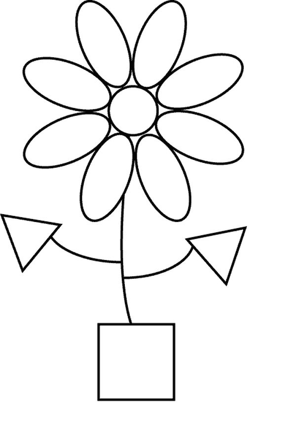 Easy flower Shapes coloring pages printable | Fun Coloring Pages ...