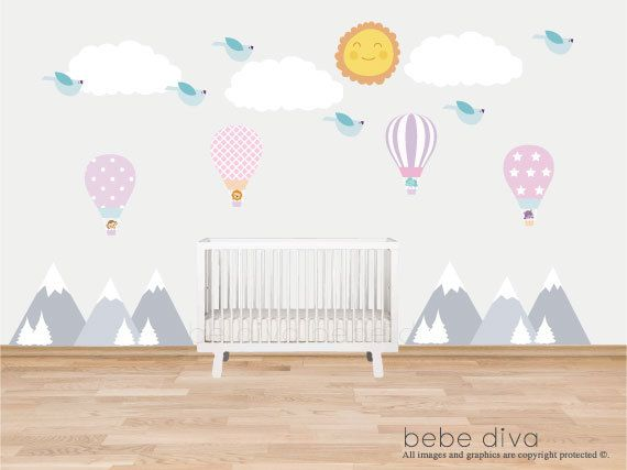 Mountain Wall Decals, Kids Wall Decal, Wall Decals Nursery, Baby ...
